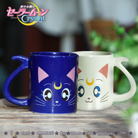 2 pieces/lot Cute Anime Sailor Moon Crystal Cat Coffee Mug Girls Cartoon Water Milk Cups Creative Couple Gifts for Collection