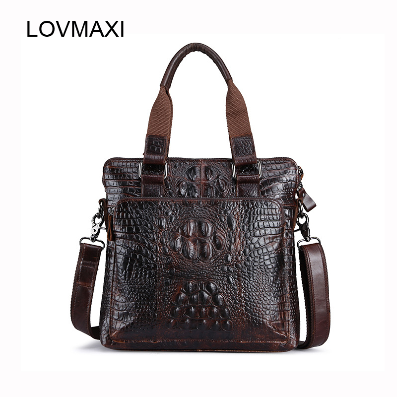 LOVMAXI Genuine Leather Male Shoulder Bags Crocodile Embossed Real Cow Leather Men Handbags Business Bag Man Messenger Bag amonchy genuine leather men shoulder bags handbags crocodile male bags natural leather man messenger bag alligator totes sac m50