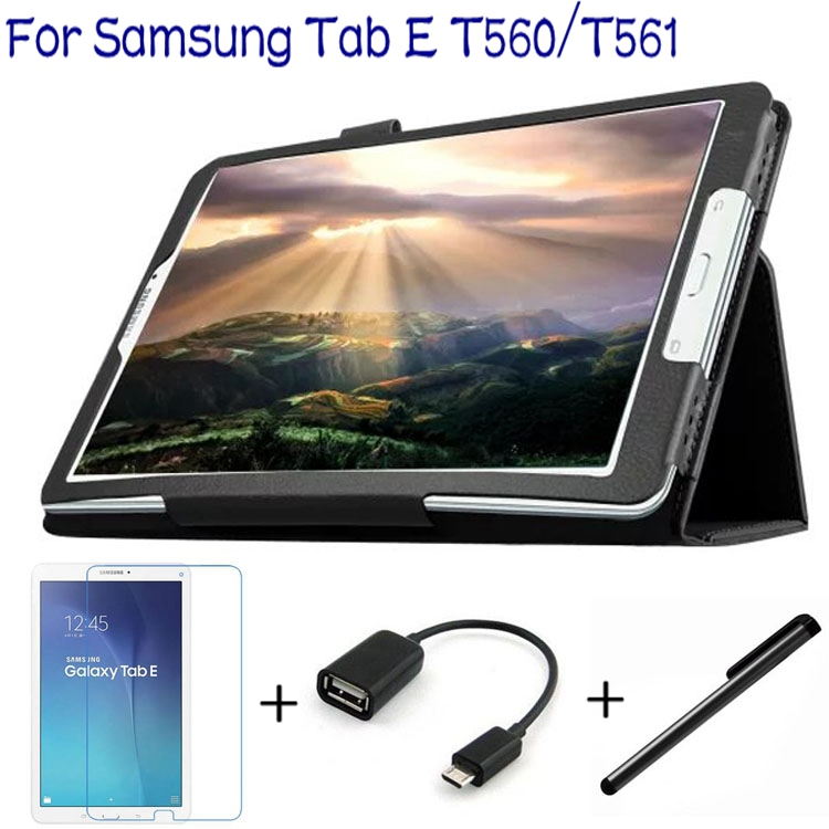 Подробнее о 4 In 1 Fashion Top Quality PU Leather Cover for Samsung Galaxy Tab E 9.6 T560 T561 Tablet Case+ Screen Protector+OTG+ Stylus Pen 3 in1 top quality stand pu leather cover case for samsung galaxy tab s 10 5 t800 t801 t805 tablet free screen protector pen