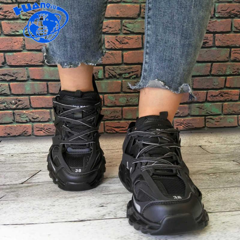Mode vintage Männer chunky sneakers Hip Hop Casual Schuhe Dicken Plattform Wohnungen Straße Tanzen Schuhe tenis zapatos hombre ZLL590