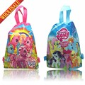 20pcs My Little Ponys Cartoon Drawstring Backpack Bags 34*27CM School Furniture Non-Woven Fabric Kids Party & Candy Bags as Gift