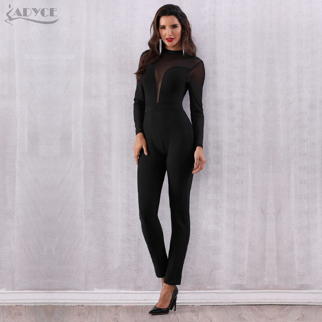 Black Mesh Hollow Out Long Sleeve Rompers Jumpsuit Bodycon Bodysuits 2