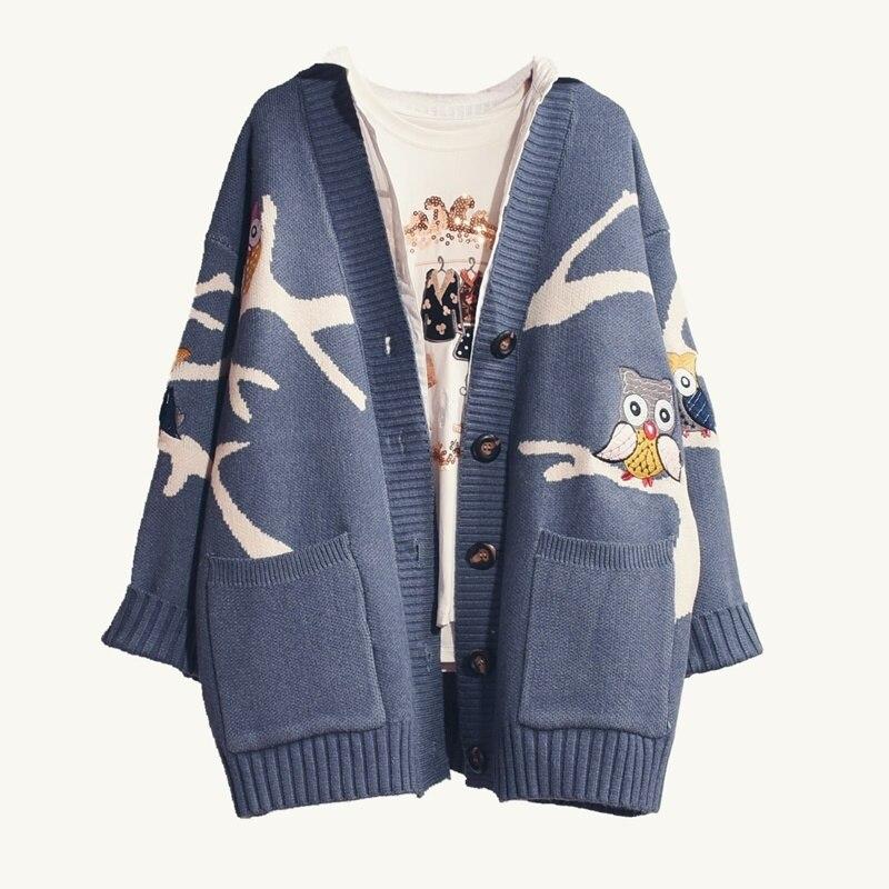 HSA зимний женский свитер кардиганы 2018 вязаное пальто Мультяшные собственные джемперы с вышивкой зимнее пончо милая куртка женские длинные кардиганы