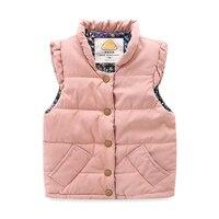 Mudkingdom Toddler Kız Yelekler Fly Kolsuz Düğme Kapatma Mont Ön Cepler Kış Sıcak Çocuklar Ceket Çocuk Giysileri