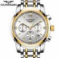 Relogio masculino marca guanqin homens de negócios de moda de luxo relógio de quartzo do esporte dos homens relógios chronograph relógio de pulso luminoso