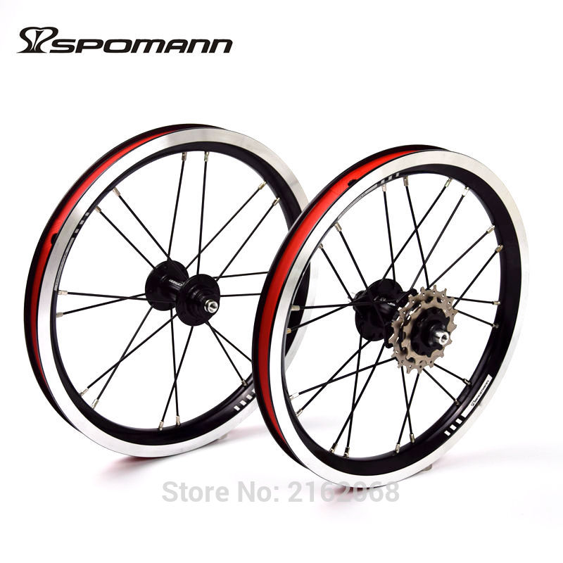 New SPOMANN 14 inch Folding bike alloy V brake BMX bicycle clincher rims wheelset MTB 14er 7 bearing 3 speed freewheel Free ship rockbros titanium ti pedal spindle axle quick release for brompton folding bike bicycle bike parts