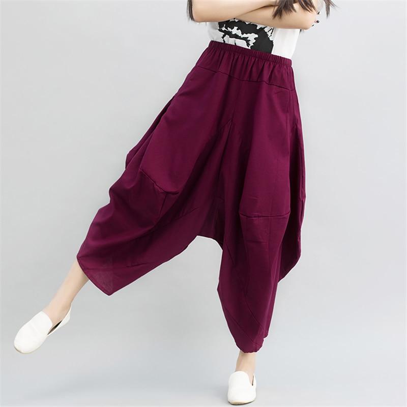 Fashion Women Crotch   Pants   Wide Leg   Pants   Dancing   Pants   Bloomers Harem Casual Trousers
