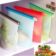 Kitchen Food Sealing Storage Bag Reusable Refrigerator Fresh Bags Silicone Fruit Ziplock Organizer