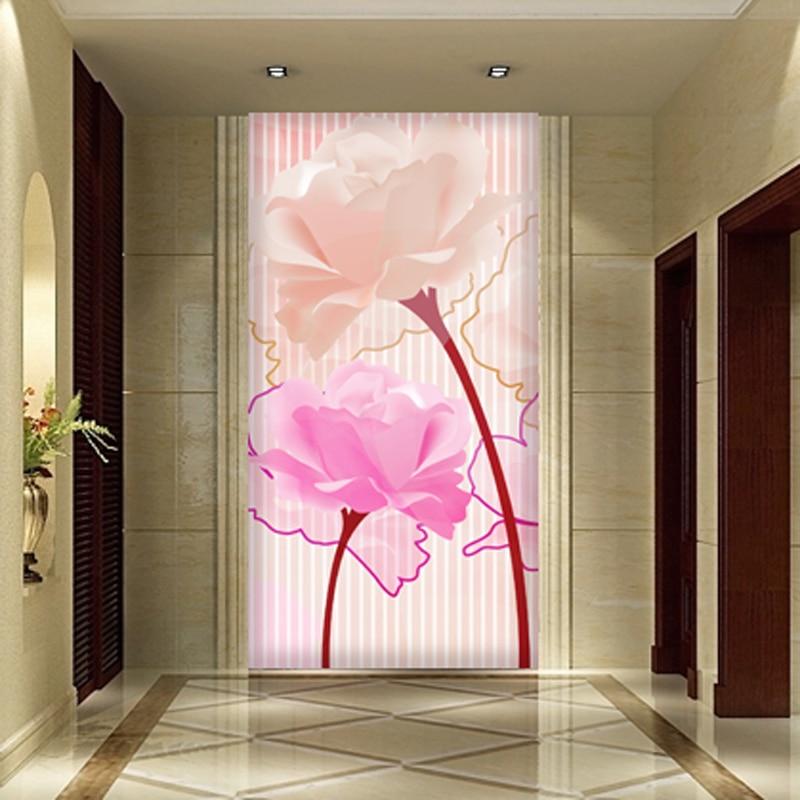 Custom Stripe Papel 3d Flower mural washable wallpaper 5d wall photo ...