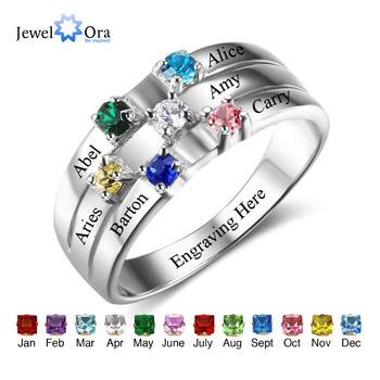 9b3a6b98dca5 Anillo de familia y amistad graba nombres personalizados 6 Birthstone 925  anillos de plata de ley regalos para mejores amigos (joyería RI102508)
