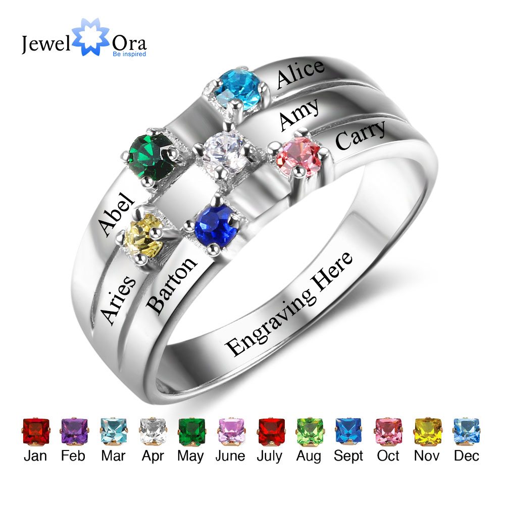 Family & Friendship Ring Engrave Names Custom 6 Birthstone 925 Sterling Silver Rings Gifts For Best Friends (JewelOra RI102508)Family & Friendship Ring Engrave Names Custom 6 Birthstone 925 Sterling Silver Rings Gifts For Best Friends (JewelOra RI102508)