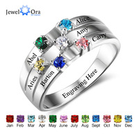 Family & Friendship Ring Engrave Names Custom 6 Birthstone 925 Sterling Silver Rings Gifts For Best Friends (JewelOra RI102508)