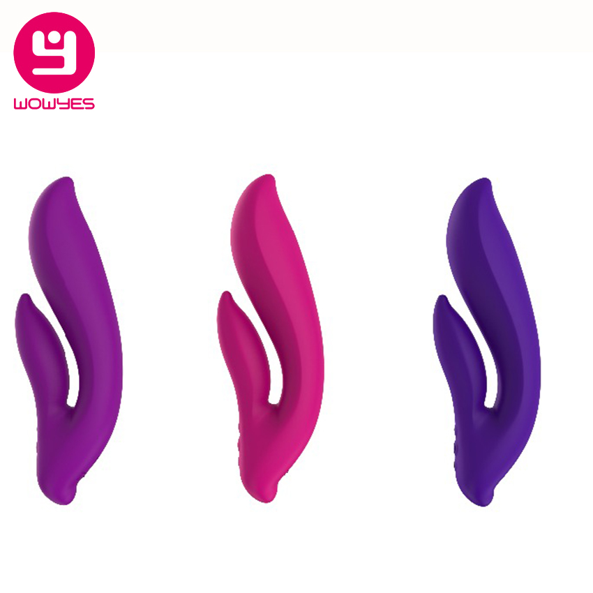 WOWYES 5 Speeds Strong G Spot For Women Soft Silicone USB Rechargeable Double Vibrating Clitoris Stimulation sex toys For Female