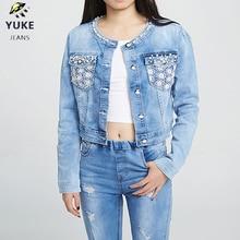 YUKE New Style Girl Denim Jacket Embroidered Hole Female Clothing, Coat, 8-15 Age  I31161-8