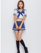 Sexy Adult Women Halloween Japanese School Girls Costume Teen Hot Blue Sailor Cosplay Fancy Pleated Skirt Suit For Ladies