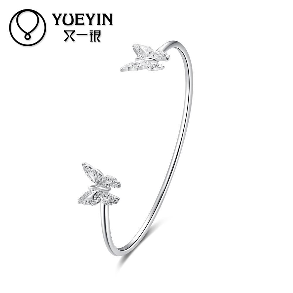 YUEYIN Latest Women Classy Design silver plated bracelet Adjustable Bangle