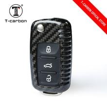 T-CARBON карбоновый чехол для ключей для автомобиля ключница 3 кнопки для Volkswagen