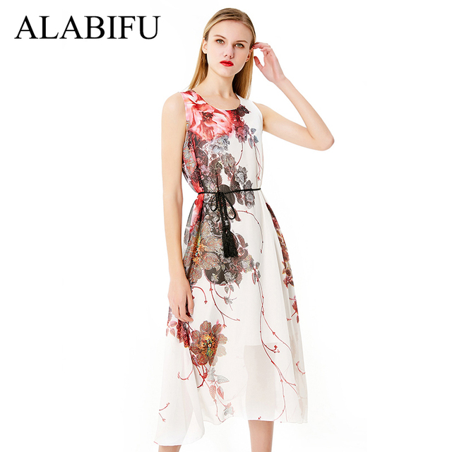 ALABIFU 2018 Long Summer Dress Women Casual Slim Chiffon Bohemia Beach Dress  Vintage Elegant Floral Print 6fd9278dba88