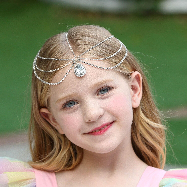 Girl Children Princess Forehead Crystal Tiara Dance Hair Band Headband chain