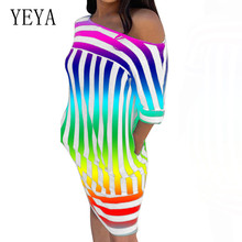 YEYA Women Fashion Sexy One Shoulder Loose Striped Print Stitching Dress Summer Clothing Ladies Casual Red Plus Size 3XL