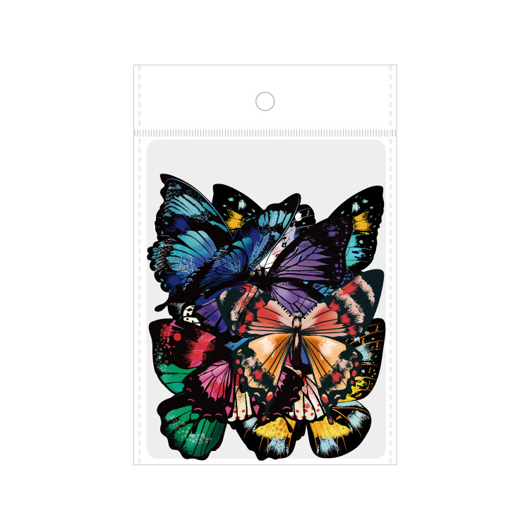 Купить с кэшбэком 30pcs/bagged PET sticker bag butterfly dragonfly fish bird DIY stationery Handbook decorative sticker bag
