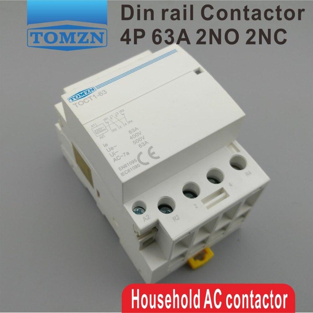 2NO 2NC TOCT1 4 P 63A 220 V coil 400V ~ 50/60 HZ su guida Din ac Domestici Modulare contattore