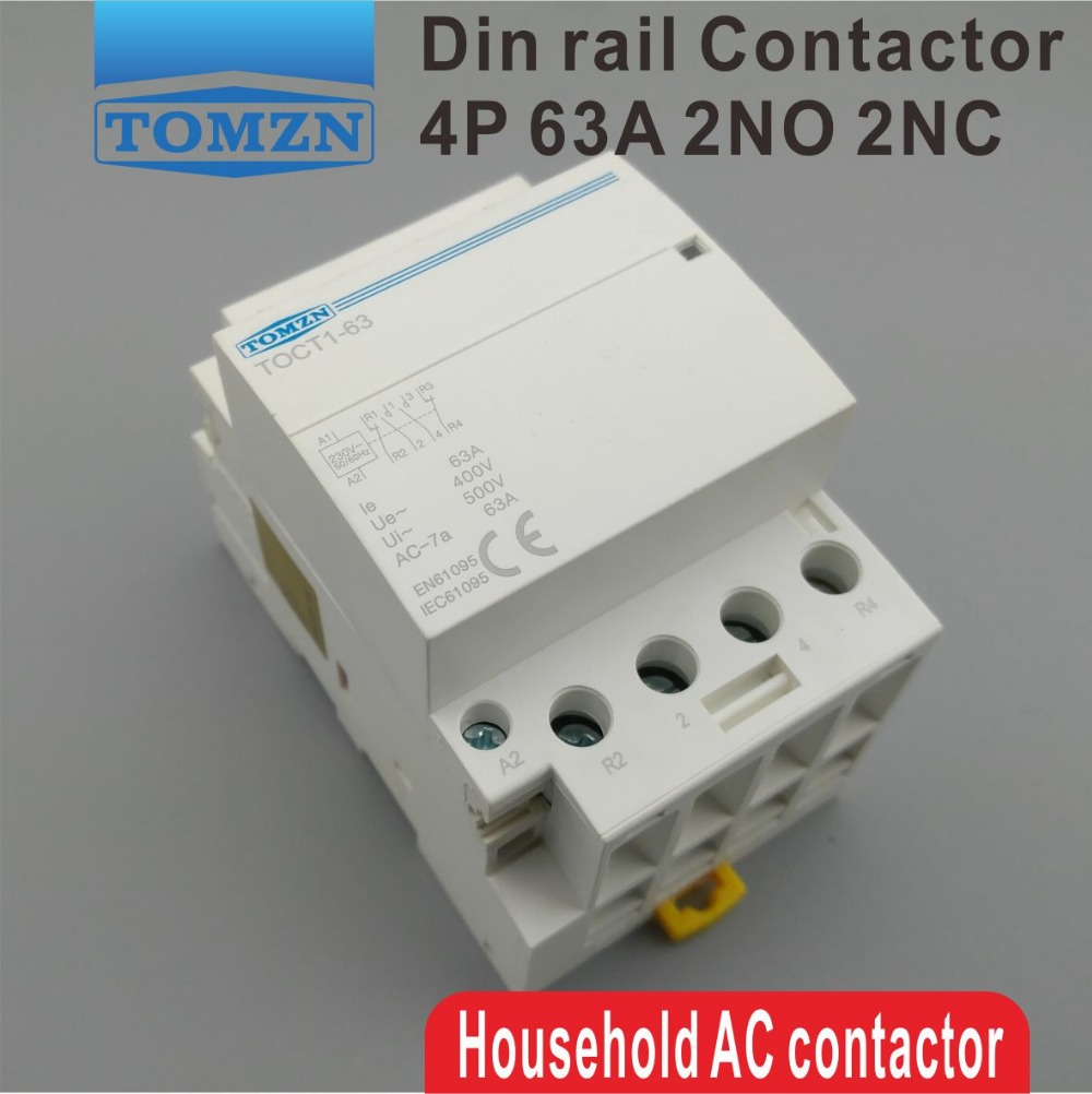 TOCT1 4P 63A 2NC 2NO 220V coil 400V~ 50/60HZ Din rail Household ac Modular contactor ac 220v 230v coil voltage pcb power relay 8 pins din rail dpdt 2no 2nc mk2p 1 free shipping