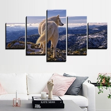 Modern Canvas Art Painting HD Printed Wall 5 Panel Pictures White Wolf Highlands Wild Animal Posters Home Decor Frame