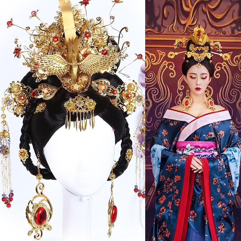 £Top SaleTang Dynasty Princess Empress Hair wig and Hair Accessories for TV Plat Gong Xin Ji