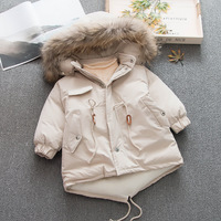 4T 110 CM Winter Girls Jacket Kids Real Raccoon Fur Hooded coats Thick Girl Winter Overcoats Toddler Girl Clothes WUA810282
