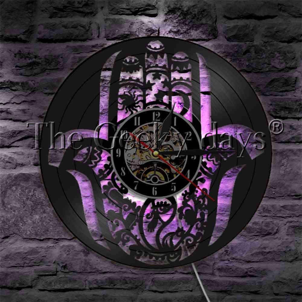 1 ชิ้น Mandala Hamsa มือบันทึกแผ่นเสียงไวนิลมีแสงไฟมีพรายน้ำโคมไฟติดผนัง Mandala Evil Eye นาฬิกาศิลปะการตกแต่ง
