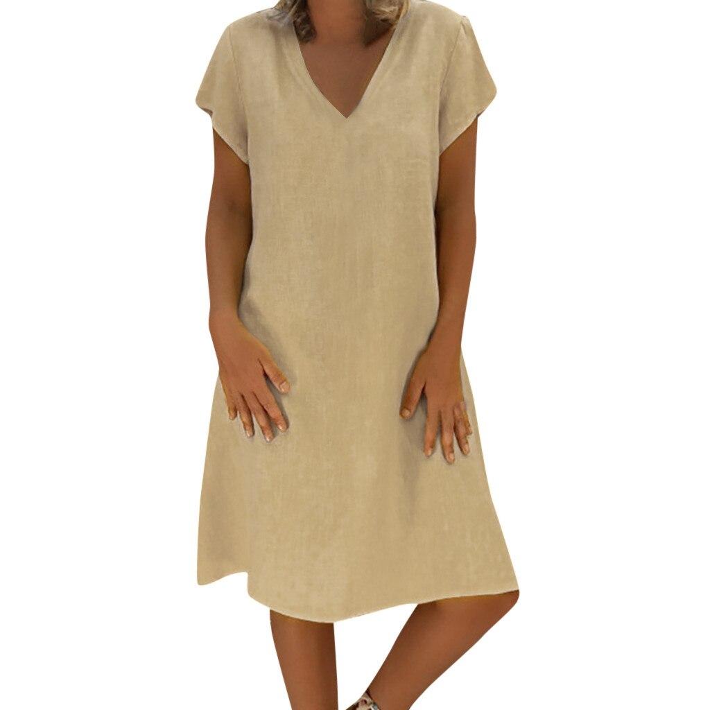 Robe bohème coton lin grande taille beige
