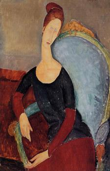 Portrait of Jeanne Hebuterne Seated in an Armchair Amedeo Modigliani oil painting for sale online High quality Hand painted image