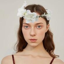 Girls Flower Crown Headband for Wedding Party Hair Band Accessories Princess Tiara Kids Headwear Wianek