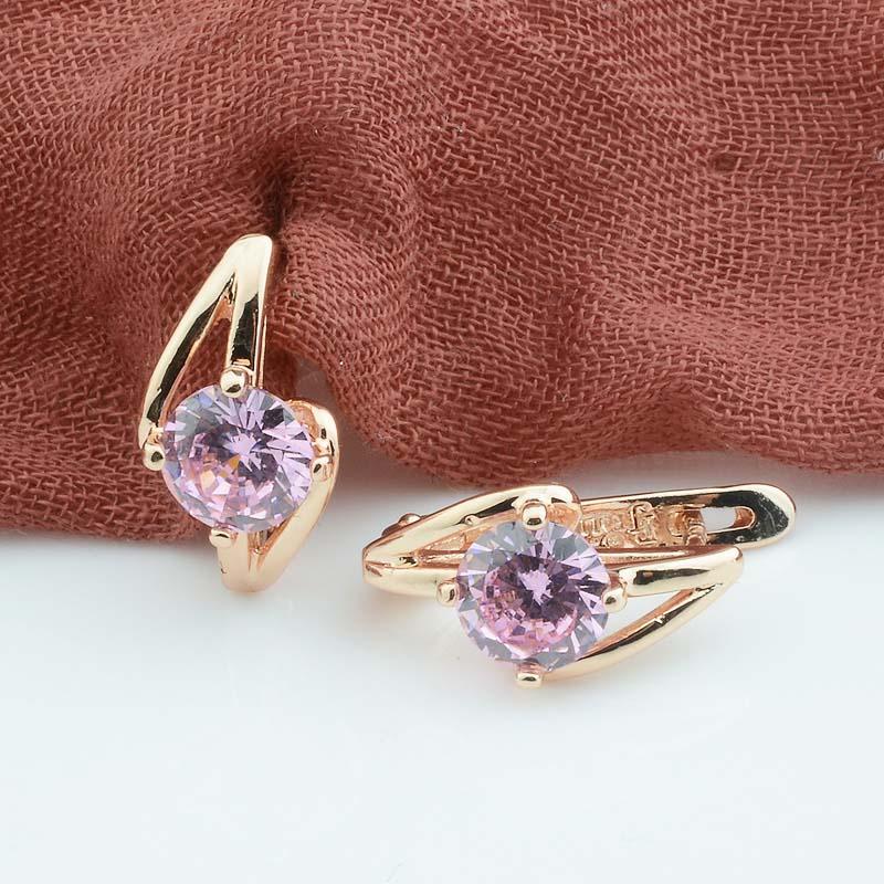 FJ 20mmX9mm Women Jewelry Ladies 585 Rose Gold Color Earrings Green White Stone Drop Dangle Earrings