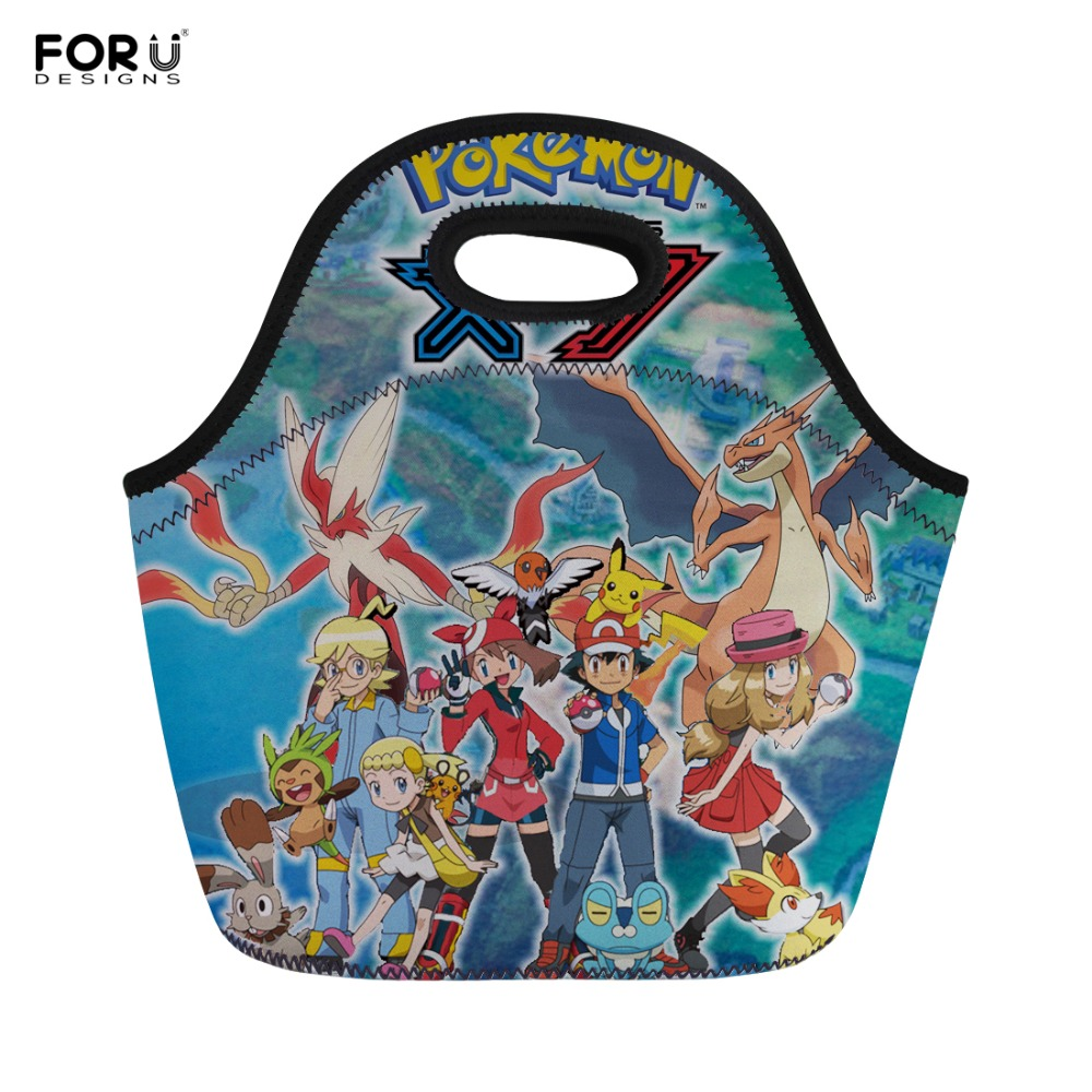 FORUDESIGNS Kids Lunch Bag Anime Pokemon Prints Children Lunch Bags Student Girls Cute Cartoon Lunch Bag Picnic Tote Handbags