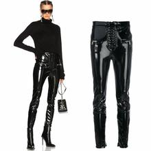 Free shipping New tide patent leather pants Punk high waist shiny PU leather tight-fitting pants button zipper Women pencil pant button front pu pants