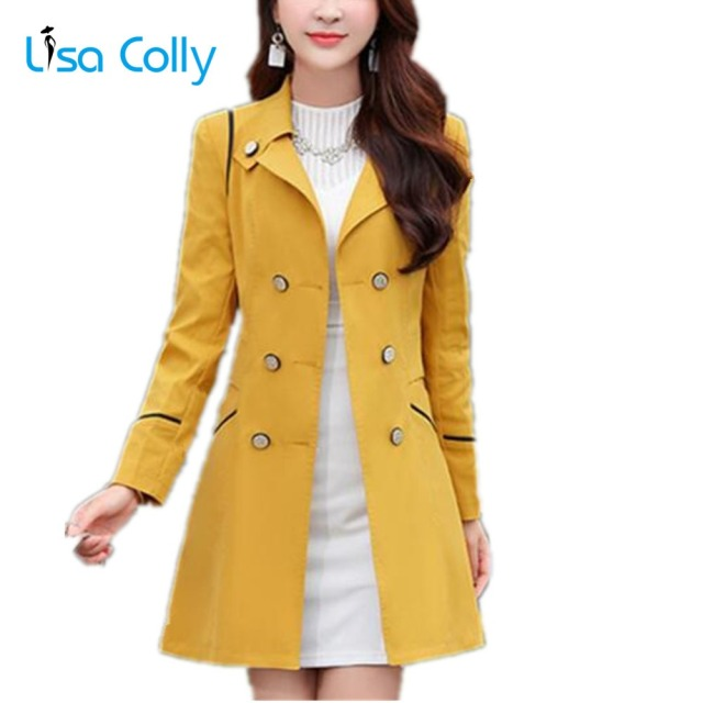 Lisa Colly Women Spring Autumn Trench Coat Women Long Sleeves Turn-down Collar Double Breasted Coats Overcoat Women Slim Outwear