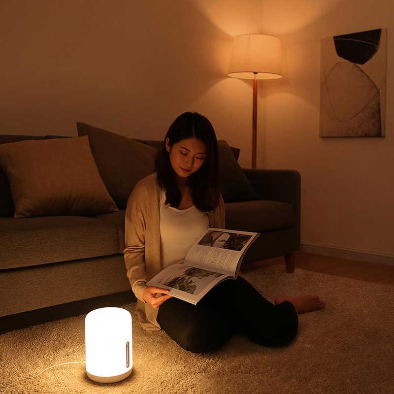 Xiaomi Mijia מנורה שליד המיטה 2 חכם שולחן Led לילה אור צבעוני 400 Lumens Bluetooth Wifi מגע בקרת עבור אפל Homekit siri