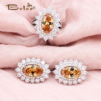 Beles Oranje Sunshine Vintage Sieraden Sets Ronde Natuursteen Fijne Grote Oorbellen Crystal in dubai Bruid Sieraden Sets