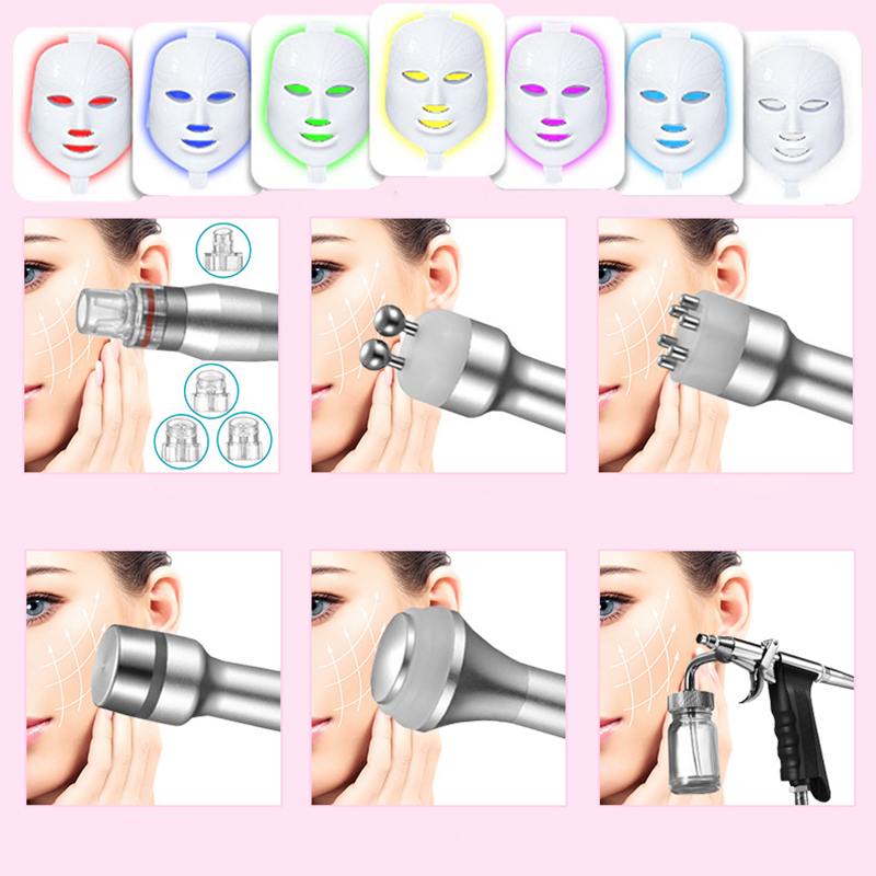 7 in 1 Small Bubble Skin Care Device 6 in 1 Ultrasonic Vacuum Hydra Deep Facial Pore Clean Facial Water Oxygen Jet Peel Machine in Face Skin Care Tools from Beauty Health