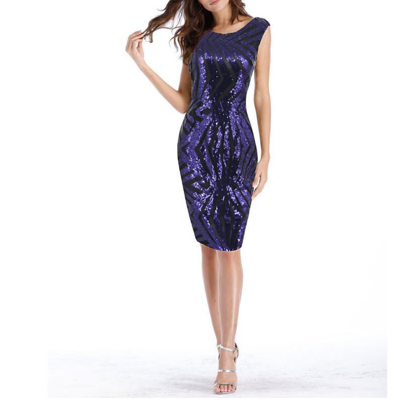 Sexy O cou robe de soirée pailletée longueur genou sans manches Maxi robe dos nu arrière fendu robe violet bleu grande taille XXXXL G26