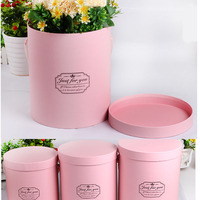 3 Pcs A Set Handheld Flower Barrel Round Paperboard Boxes With Lid Wedding Favors Solid Bucket Gift Packaging Florist Supply