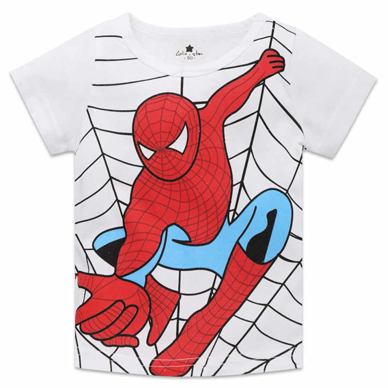 2-8 años superhéroe spiderman cosplay bebé niño camiseta niños grandes camisetas niños ropa de verano para regalos