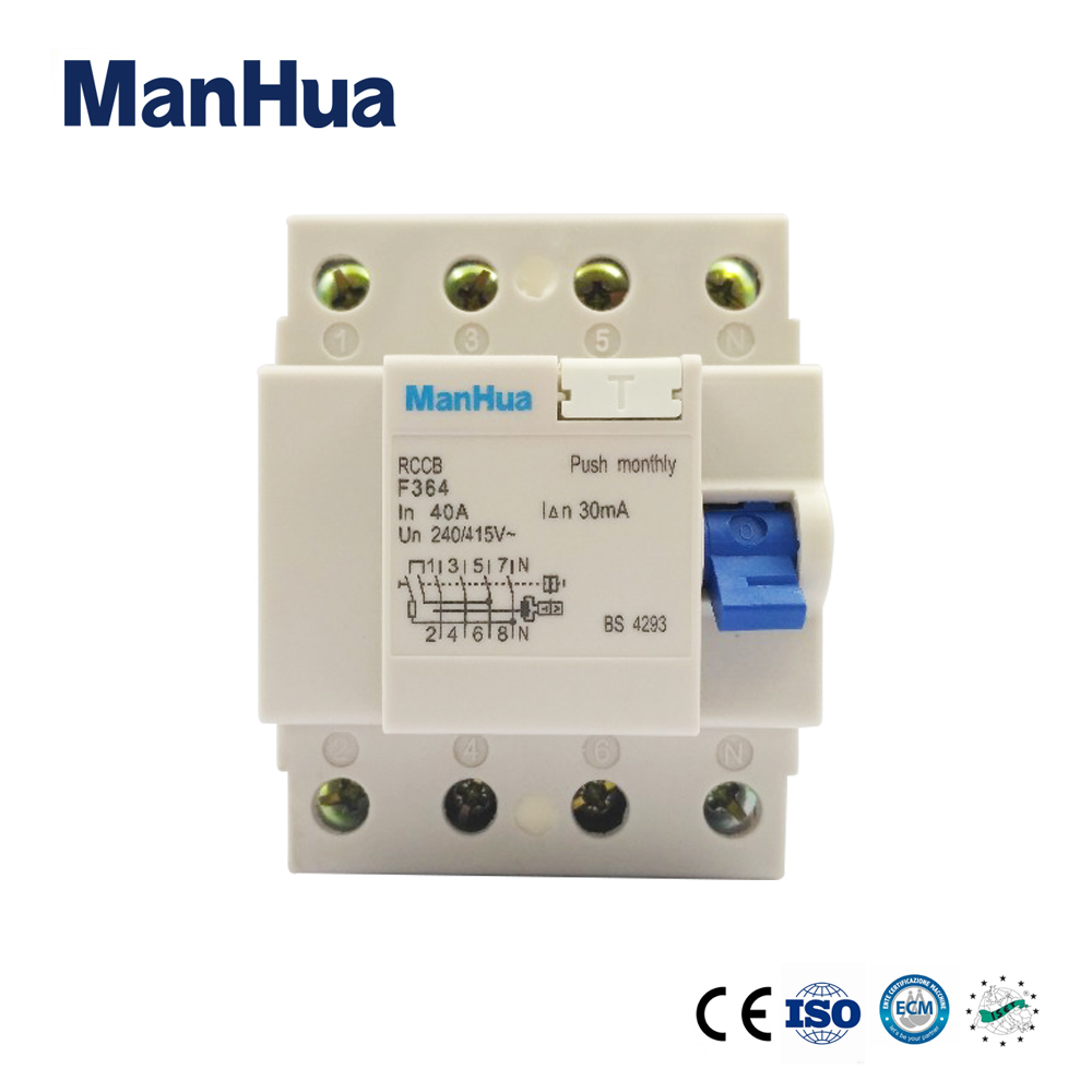 Hot Sale Manhua 4 Poles F364 Residual Current Rcd 40a 30ma Circuit Electric Shower Wiring Breaker