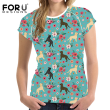 FORUDESIGNS T Shirt Women Labrador Flower Print Tee Female Fashion Summer Tops for Teen Gir Kawaii T-shirt Camisa Feminina