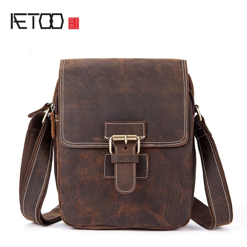 AETOO nouveau sac à bandoulière rétro crazy horse skin pour hommes sac à bandoulière à clapet oblique sac vertical en cuir