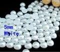 Free shipment!!5MM Acrylic/Plastic Imitation Half Pearl Round Flatback Beads 5000PCS White Color  for DIY Nail Jewelry!!
