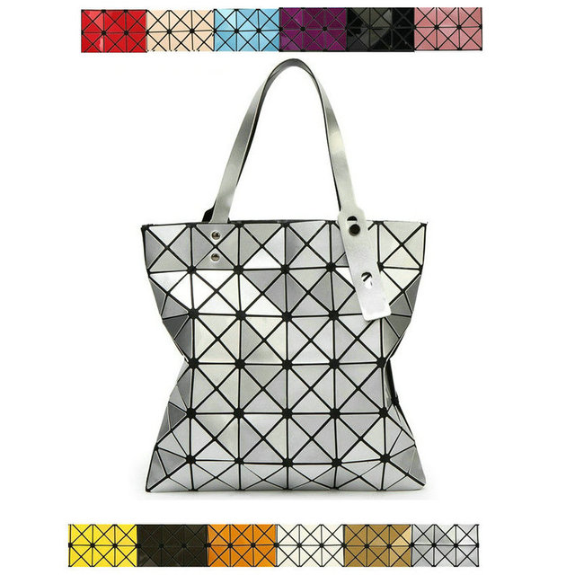 32fbeeedd997 12 colors women's diamond lattice 6*6 laser top handle tote geometric flat  fold over shoulder bags plaid checker commute handbag-in Top-Handle Bags ...