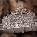 Reina dominante gran tocado de corona de lujo de lujo tiara nupcial del pelo accesorios de la boda frontlet